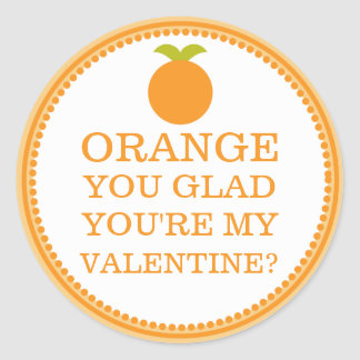 Orange You Glad You're My Valentine Friend Fruit Classic Round Sticker