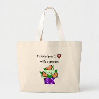 Orange you in love with cupcakes tote bags