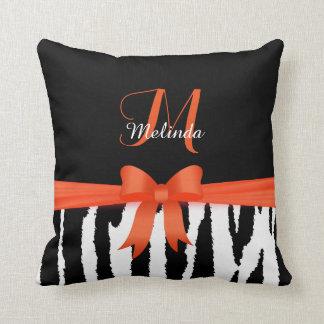 Orange Zebra Animal Stripes Throw Pillow