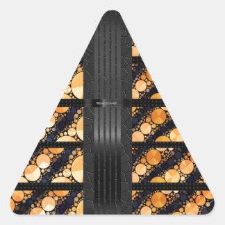 Orange Zebra Bling Black Triangle Sticker
