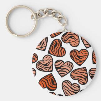 Orange zebra hearts Keychain