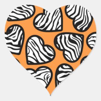 Orange zebra hearts sticker