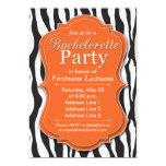 "Orange Zebra Print Bachelorette Party Invitations 5"" X 7"" Invitation Card"