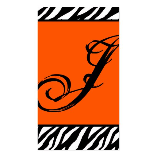 Orange Zebra Print Pattern Business CardOrange Zebra Print Pattern