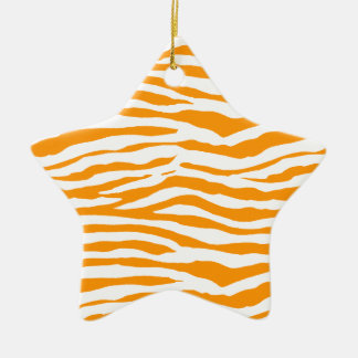 Orange Zebra Stripes Ceramic Ornament