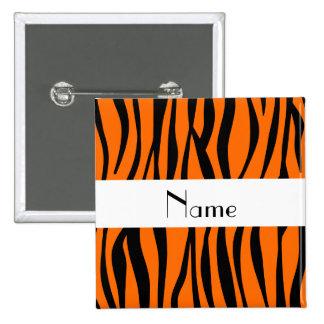 Orange zebra stripes white stripe 2 inch square button