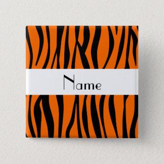 Orange zebra stripes white stripe pinback button