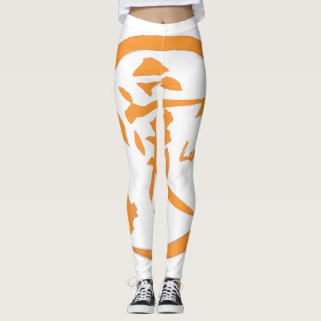 Orange zen circle | Japanese kanji symbol for love Leggings
