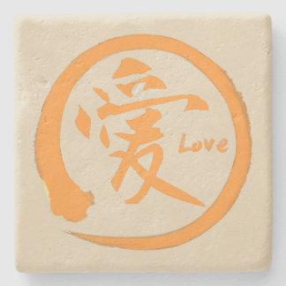 Orange zen circle   Japanese kanji symbol for love Stone Coaster