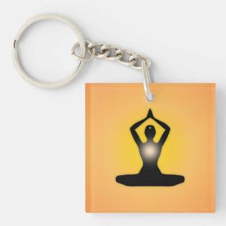 Orange Zen Meditation Sunburst Keychain