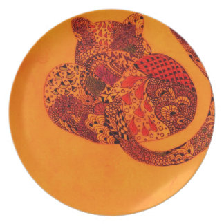 Orange Zentangle Leopard Plates