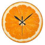 orange zest time large clock