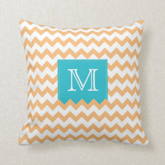 Orange Zig Zag Pattern & turquoise monogram box Throw Pillow