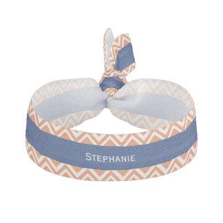 Orange Zigzag Pattern with Royal Blue Hair Tie