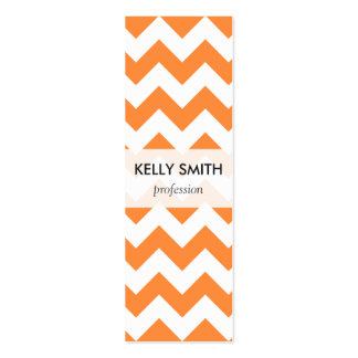 Orange Zigzag Stripes Chevron Pattern Mini Business Card
