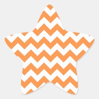 Orange Zigzag Stripes Chevron Pattern Star Sticker