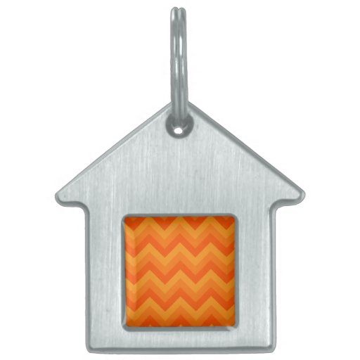 Orange Zigzag Stripes. Pet Name Tags