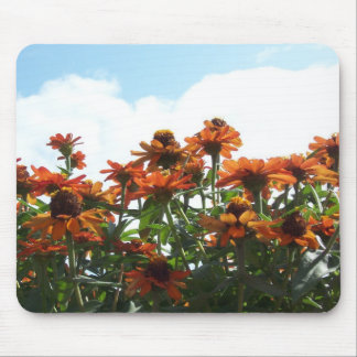 Orange Zinnas Against a Blue Sky Mouse Pad