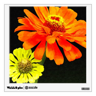 Orange Zinnia and Yellow Zinnia Room Decals