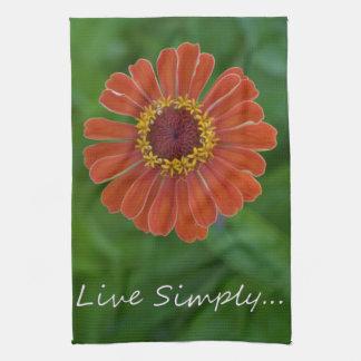 Orange Zinnia flower blossom unique gifts Hand Towel
