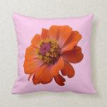 Orange Zinnia Wildflower Photo Throw Pillow
