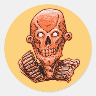 Orange Zombie Skull Head Sticker