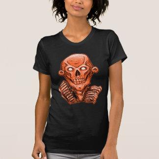 Orange Zombie Skull Head T Shirt
