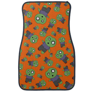 Orange zombies car floor mat