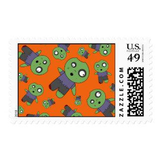 Orange zombies postage stamps