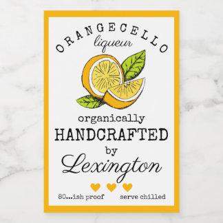 Orangecello Liqueur Label For A Small Bottle  