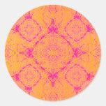 OrangePink Round Stickers