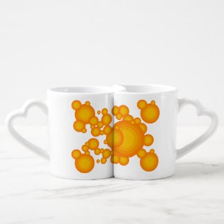 Oranger 70s styling circles like bubbles Coffee Mug set