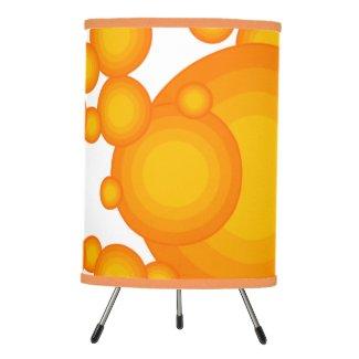 Oranger 70s styling circles like bubbles tripod lamp