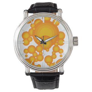 Oranger 70s styling circles like bubbles watch