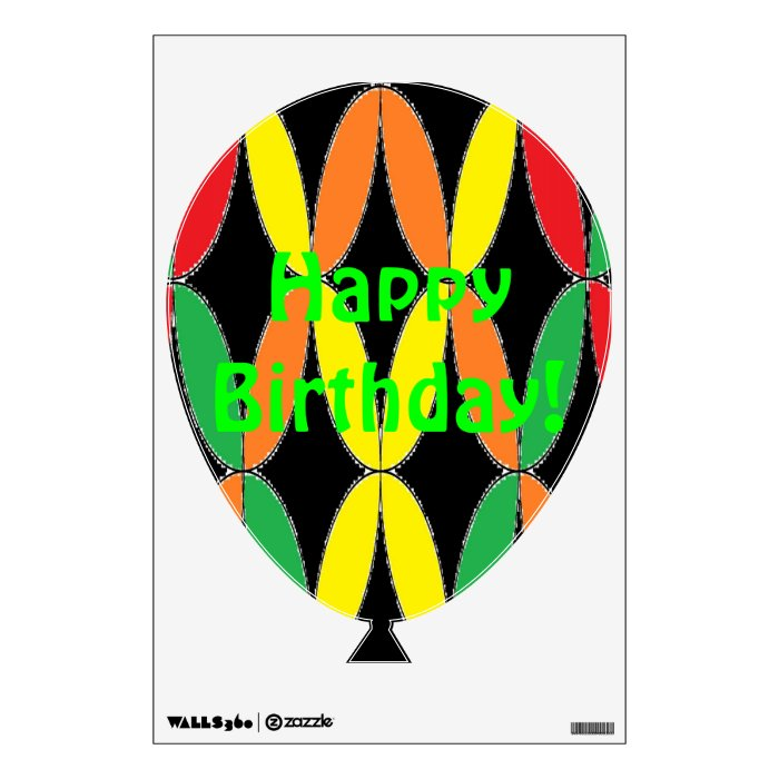 OrangeRedYellowGreen Birthday Balloon Wall Sticker