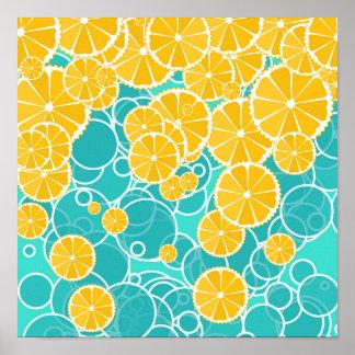 Oranges and bubbles print