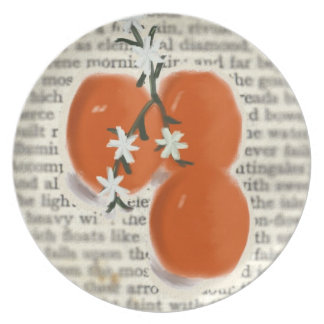Oranges and Flowers with Poem Boho Plate