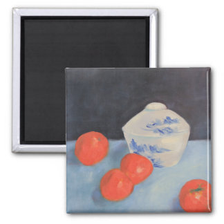 Oranges and Persimmons 2 Inch Square Magnet