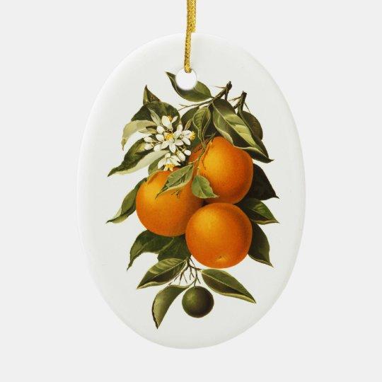 Oranges and Poppies Ceramic Ornament