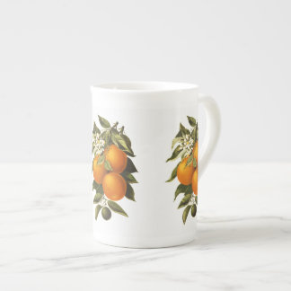 Oranges and Poppies Tea Cup
