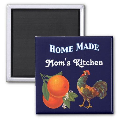 Oranges and Rooster Vintage Crate Art Magnet