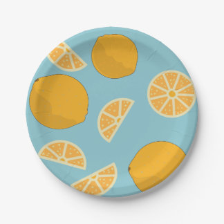 Oranges and slices paper plate