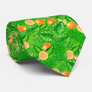 Oranges and tropical leaves neck tie