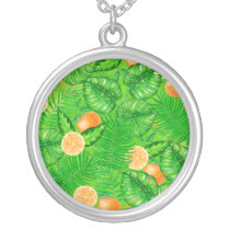 Oranges and tropical leaves silver plated necklace