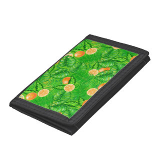 Oranges and tropical leaves trifold wallet