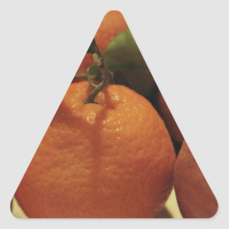 Oranges apples fruit on a table triangle sticker
