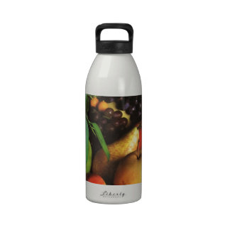oranges apples pears grapes and tomatoes reusable water bottle