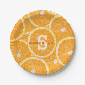 Oranges custom monogram paper plates