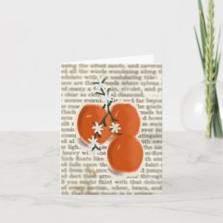 Oranges, Flowers and Poetry Note Card zazzle_card