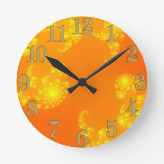 Oranges Julia Fractal Abstract Art Wall Clock